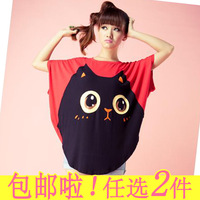 2013 summer Cute cloak batwing loose totoro patterns Short Sleeve shirts oversize XXXL for fat women ladies promotion Clothes