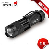 Mini ultrafire cree q5 glare led flashlight retractable zoom waterproof charge