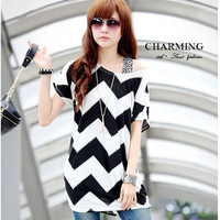 Summer new 2013 retro loose big plus size patchwork striped fat women clothing T-shirt for ladies tops blouse black and white
