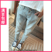 Female loose thin women's jeans trousers summer blouse clothes