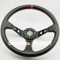350MM OMP Steering Wheel Carbon Fiber / OMP Carbon Steering Wheel for Racing Car / Deep Dish Racing Steering Wheel Red Stitch