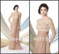 Champagne Lace Long Chiffon Free Shipping 2014 Mother of the Bridal Dress