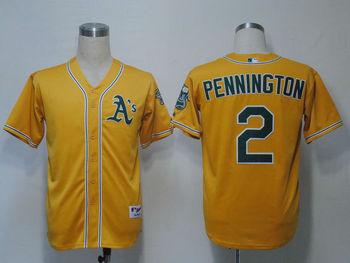 MLB Athletics Oakland Cliff Pennington  #2 Yellow Cool Base Baseball Jerseys Authentic On Field Jersey Free Shipping