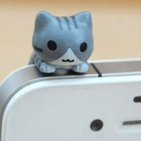 Free shipping cat dust plug phone mobile pendant dust plug for iphone