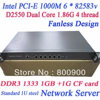 fanless network 1U server with intel PCI-E 1000M 6 * 82583v D2550 6*Gigabit Ethernet port ros soft route server WayOS