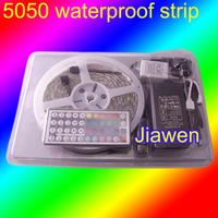 Christmas Light!5M SMD5050 RGB Waterproof 300 LED Strip Light+44Key IR Remote Controller+ Power adapter 12V 6A  Free Shipping