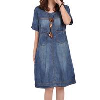 Dresses Women Summer Dress Women Casual 2014 Plus Size Thin Knee Length Denim Dress Front Pockets Loose Outwears Free Shipping
