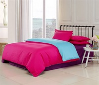 100% cotton solid color piece bedding set 100% cotton bedding plain bed sheet rose water blue Violet