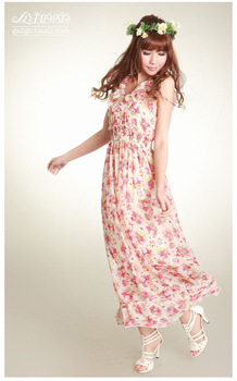 Free shipping 2013 new summer bohemian floral Japanese Korean Slim waist chiffon beach dress dress child