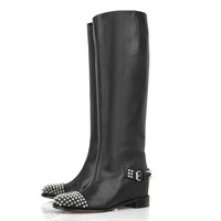 New designer fashion ladies' red bottom knight long boots sexy genuine leather knee-high rivet boots for women