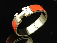 Fashion hit H button titanium steel enamel bangle bracelet