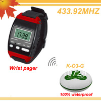 433.92MHZ Convenient calling Call waiter watch system with 1 watch display and 10pcs call bell DHL free shipping