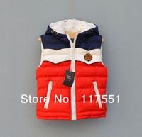 2013 winter US COLOR Korean version of children's cotton vest Winter Hoody Vest coat Jackets Size 90-130 thickening vest