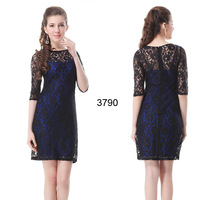 HE03790BK 2014 New Arrival Sexy Round Neckline 3/4 Sleeve Lace Women Cocktail Dress