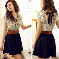 IMIXBOX Without Belt! Women Summer New Fashion Chiffon Dress Short-sleeve Dots Polka Waist Mini Beige+Black