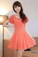 Show slim  dress lady short sleeve chiffon dress