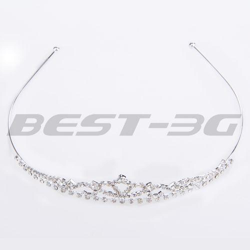 Fashion Silvery Rhinestone Wedding Bridal Crystal Tiara Crown Headband Hair Jewelry Headband