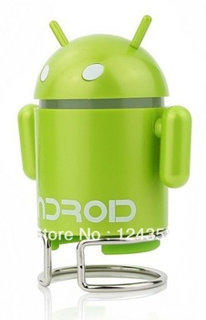 DHL Free shipping Hot New Lovely Cute Google Android Robot USB Mini MP3 FM Radio Speaker High quality 50pcs/lot .