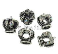 Free shipping antique silver color plated without troll & with rhinestone Zinc Alloy Crown European Beads Fashion Jewelry beads