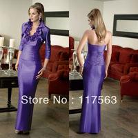Elegant purple bolero jacket satin handmade flower formal mother of the bride dresses MQ014