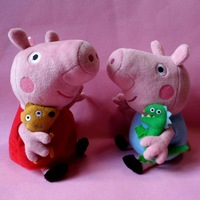 Retail Simple Order 19cm Cute Peppa Pig With Teddy Bear George Pig Plush Doll Toy Stuffed Plush Cartoon Plush Kids Gift