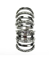 Min order is usd 15.0 Free Shipping Fashion New Punk Multilayers Hollow Joint Silver Finger Ring Cheap Ladies Ring