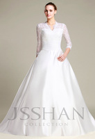 12W052 2013 New French Lace Princess 3/4 Sleeves Bridal Wedding Dress Free Shipping