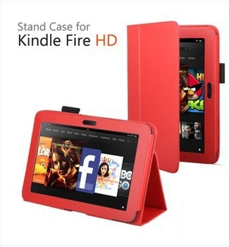 "Premium Litchi Style slim PU leather case Flip Skin Smart Cover Stand for Amazon Kindle Fire HD 7"" Tablet PC with Sleep Wake"