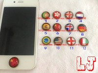 Freeshipping1pcs/lot Home Button Stickers for Apple iphone,China Germany Spain Brazil Belgium flag for your iPhone4s,Cube Effect