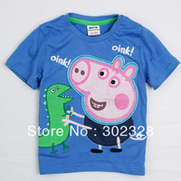 2013 New arrival Boys Summer short Sleeves t-shirt george pig design Childrens'  Clothes Toddlers T-shirt Free Shipping