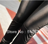 New Fashion knitting LG-029 Women's Leggings Faux PU Leather Skinny Stretch Patchwork Casual Pants Khaki/Black 1PC/LOT