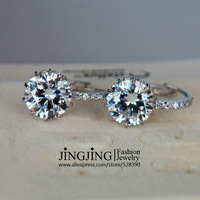 E108 White Gold Plated 9mm 2.75 carat Swiss Cubic Zirconia Stone Hoop Earring FREE SHIPPING
