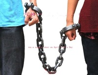Halloween novelty supplies activity performing props,Prisoners PVC plastic handcuff/chains pvc bracelet 118g Free shipping