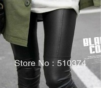 New Fashion knitting LG-029 Faux Leather woman leggings ankle length leather trousers Patchwork skinny pants Black Khaki 1PC/LOT