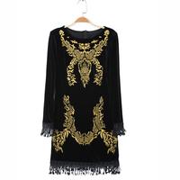 Fashion new 2013 spring fashion embroidery long-sleeve short skirt embroidered gold velvet tassel slim waist    sexy dress