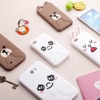 Line mandoo  for SAMSUNG   i9500 s4 cartoon phone case note2 n7100 silica gel protective case