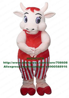 Fat Cow Mascot Costume Bull Ox Cattle Calf Bovini Boeuf Mascotte Mascota No.4077 Free Shipping