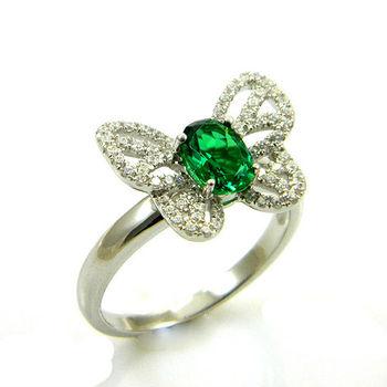 романтический дизайн бабочка дам оптовая рекламные горячая продажа изумрудное кольцо коктейль стерлингового серебра серебра бесплатная доставка