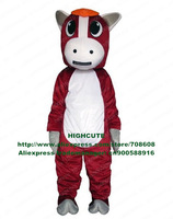 Red Horse Mascot Costume Pony Mare Fancy Dress Cartoon Character Mascotte No.4096 Free Shipping