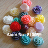 12MM 100pcs Random Mixed Colors Resin Craft Resin Flower Cameo / Cabochon Resin Pendants Beads For Jewelry Decoration