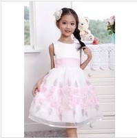Free Shipping 2014 New Arrival Korean Fashion Hot Sale Children Girls Sleeveless Flower Dress Girls vest princess chiffon dress