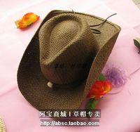 Free Shipping Cowboy hat large-brimmed hat sunbonnet male summer strawhat anti-uv beach cap sun hat