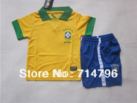 Wholesale Customize 2013/2014 Brazil team Home Thailand Quality Kids Soccer Jerseys Shorts Kits Children Soccer Uniforms