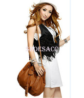 Fashion Korean Style Women's Lady Hobo PU leather Handbag Shoulder Bag Messenger Bag Purse Brown/Black 5606