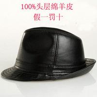Free Shipping Quality male genuine leather jazz fedoras hat male sheepskin hat black fashion cowboy hat