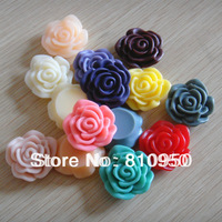 22MM Resin Pendant 100pcs Random Mixed Colors Resin Rose Flower/cabochon For Jewelry Decoration!!