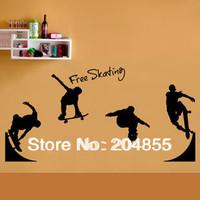 Fashion PVC Bedroom Sticker Home Decor Wall Sticker with Skating Boy Pattern