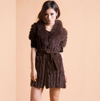 Free shipping 2013 New Vogue Rabbit fur Woven Knitted Gilet Natural Fur Garment women Winter Jacket Coat High Quality IN STOCK