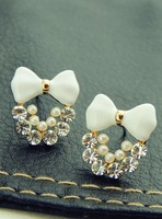 New Korean exquisite handmade cute bow crystal earring free shipping
