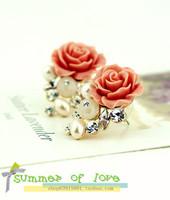 Korean new fashion princess  crystal  flower pearl opal earrings free shipping